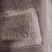 Pardesiu dama de blană naturală de miel Merinos și lână, Dusty Pink si Light Purple, 108 cm