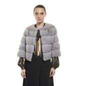 Jachetă de blană naturală de vizon/ nurcă, gri Sapphire, 52 cm
