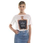 Bluză cu mânecă scurtă, cu mesaj, albă