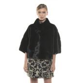 Jachetă de blană naturală de vizon/ nurcă, neagră, 62 cm