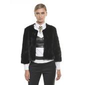 Pantaloni cu talie înaltă, două culori alb/negru