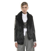 Jachetă de blană naturală de orylag, mâneci piele, neagră