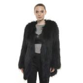 Jachetă de blană naturală de raton, culoare neagră, 70 cm