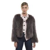 Jachetă de blană naturală de raton, Dusty Purple, 50 cm