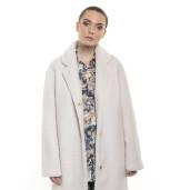 Palton  de dama  din blană naturală de miel Australian, blana tip lână, alb, 107 cm