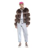 Jachetă din blană de naturală de vulpe lucrată pe material textil, 55 de cm
