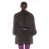 Jachetă de blană naturala de raton, plum, 65 cm