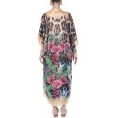 Kimono deschis, matase 100%, imprimeu Jungle Vibe, bordura bej