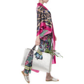 Light kimono,100% silk, Jungle Vibe print, red border