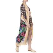 Kimono deschis, matase 100%, imprimeu Jungle Vibe , bordura bej