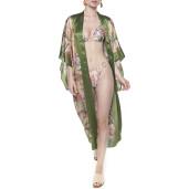 Kimono deschis Tropical Breeze, bordura verde, matase naturala 100%