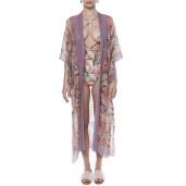 Kimono deschis, voal, imprimeu Tropical Breeze bordura mov pal