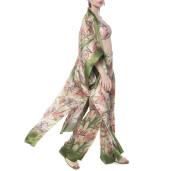Light kimono, 100% silk, Tropical Breeze green border print