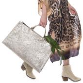 Kimono, matase 100%, imprimeu Feline Moves, bordura maro-bej