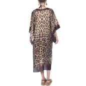 Kimono, matase 100%, imprimeu Feline Moves, bordura maro
