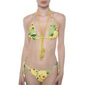 Costum baie 2 piese Sun Flower Bloom, sutien triunghi reglabil, slip brazilian snur