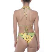 Costum baie 2 piese Sun Flower Bloom, sutien triunghi reglabil, slip brazilian talie joasa cu snur