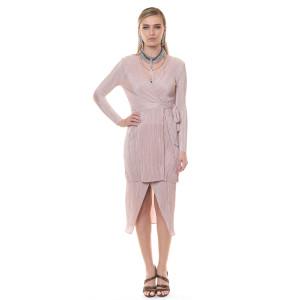 Bluza suprapusa cu maneca lunga si inchidere in talie, culoare nude-rose