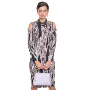 Rochie eleganta, cambrata, lungime medie, decupata la umeri