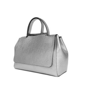 Geantă medie Paisi Class, model Anisia, Silver Laminato, 38x16x28