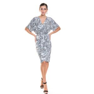 Rochie midi argintie cu imprimeu