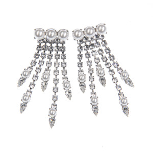 Cercei Maddison perle Swarovski White Pearl, cristale Swarovski