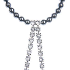 Colier Amma perle Swarovski Jet Pearl, cristale Swarovski