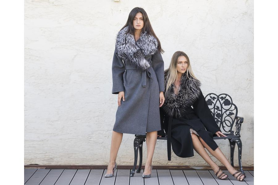 Cashmere Coats with oversized fox fur collars